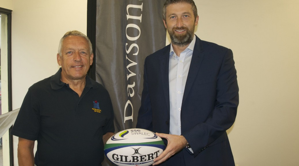 Martin Rodwell, Mumbles RFC chairman, with James Dawson, Partner at Dawsons Property