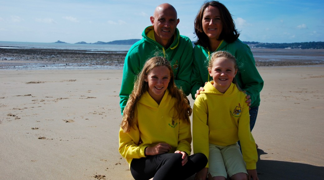 Lisa Davies with husband Matthew and daughters, Tegen and Seren