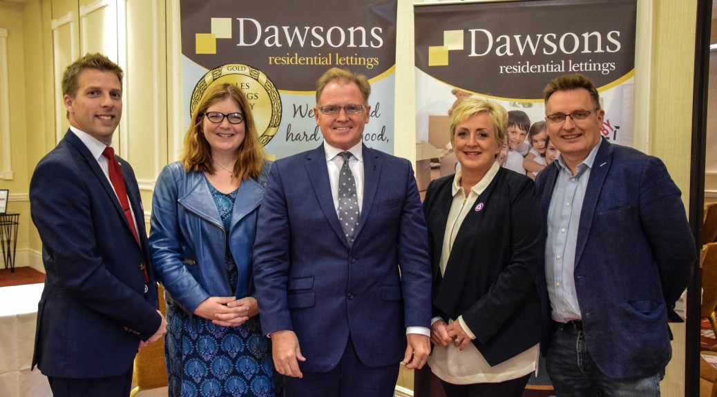 CAPTION: L-R Ricky Purdy, Director of Residential Lettings at Dawsons, Jenny White, Partner at Channel Communications, Chris Hope, Senior Partner at Dawsons, Joanne Summerfield-Talbot, Director of Residential Sales, and Richard Thomas, Partner at Channel Communications