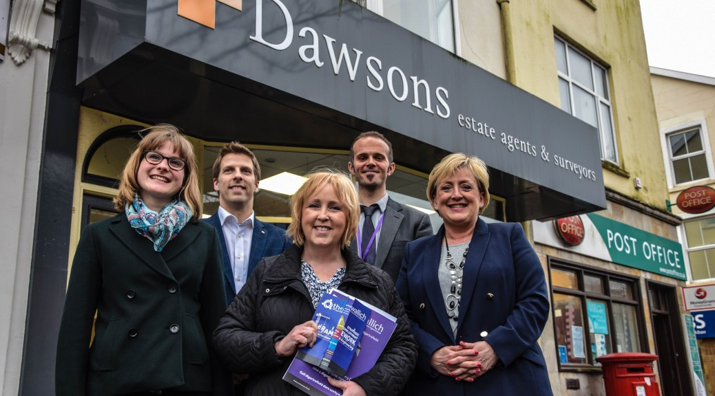 Mia Rees, Public Affairs and Research Manager, The Wallich, Ricky Purdy, Director of Residential Lettings, Dawsons, Suzy Davies AM, Harry McKeown, South West Wales Regional Manager, The Wallich, and Joanne Summerfield Talbot, Director of Residential Sales, Dawsons.
