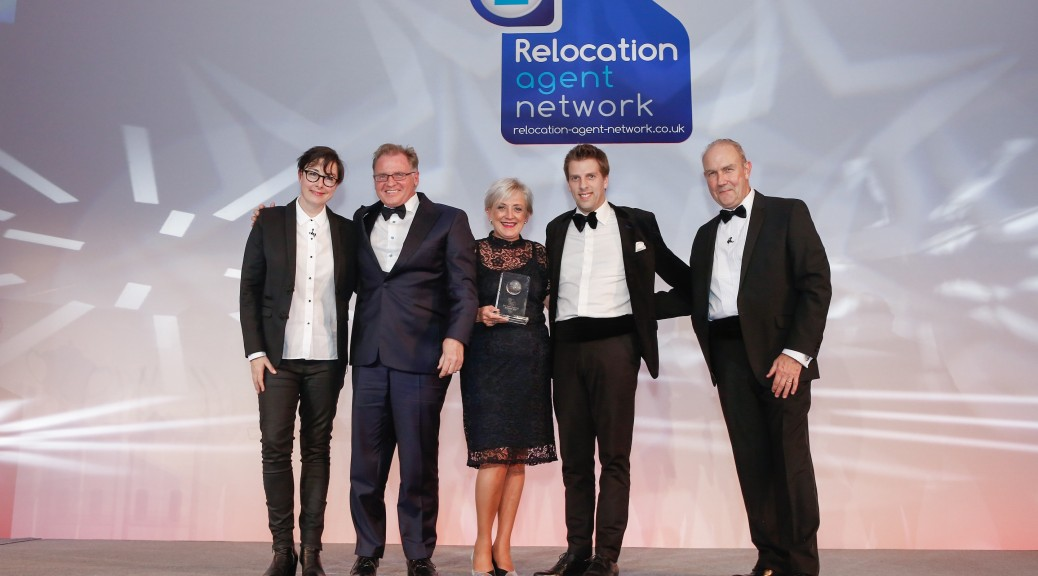 Dawsons receiving their award - Sue Perkins, Dawsons Senior Partner Chris Hope, Dawsons Director of Sales Joanne Summerfield-Talbot, Dawsons Director of Lettings Rickey Purdy and Relocation Agent Network's Managing Director Richard Tucker