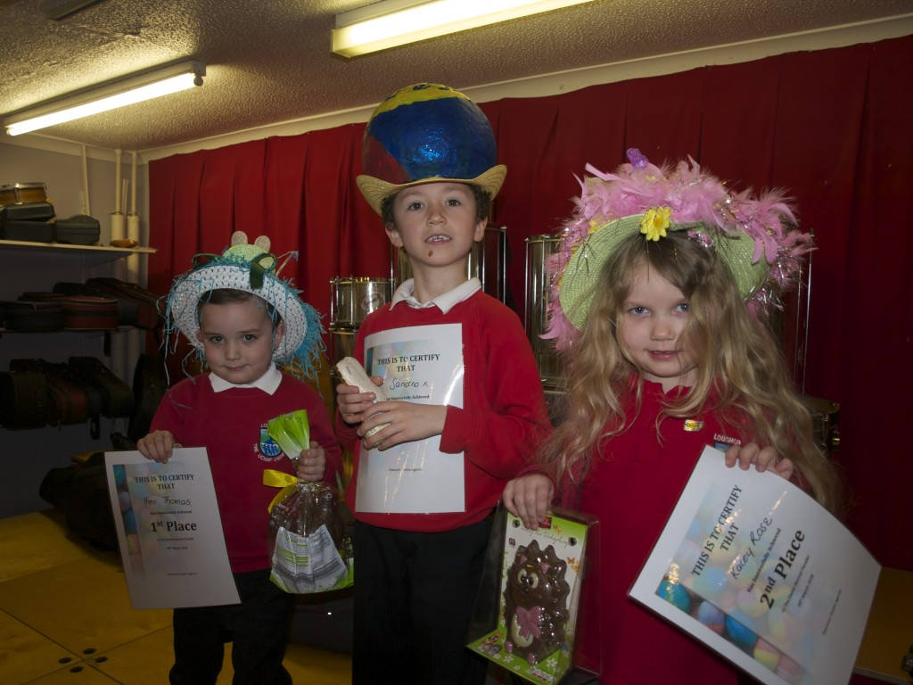 Infant Easter Bonnet Parade winners: Theo Thomas (1st), Kacey Rose (2nd), Sandro Jones (3rd)