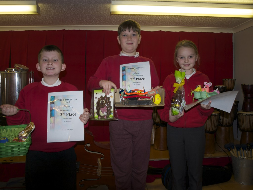 Junior Easter Decorate and Egg winners: Grace Harries (1st), Jac Kavanagh (2nd), Jaydon Taylor (3rd)