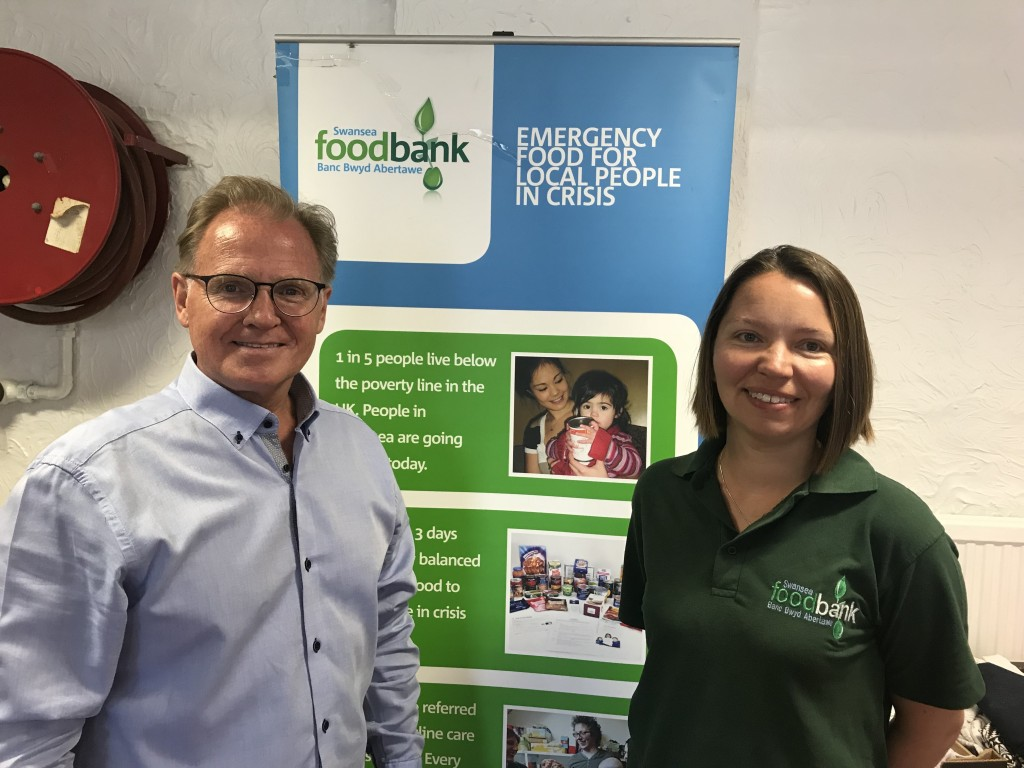 Chris Hope with Kristina Williams of Swansea Foodbank