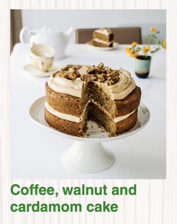 Coffee Walnut and Cardamom Cake