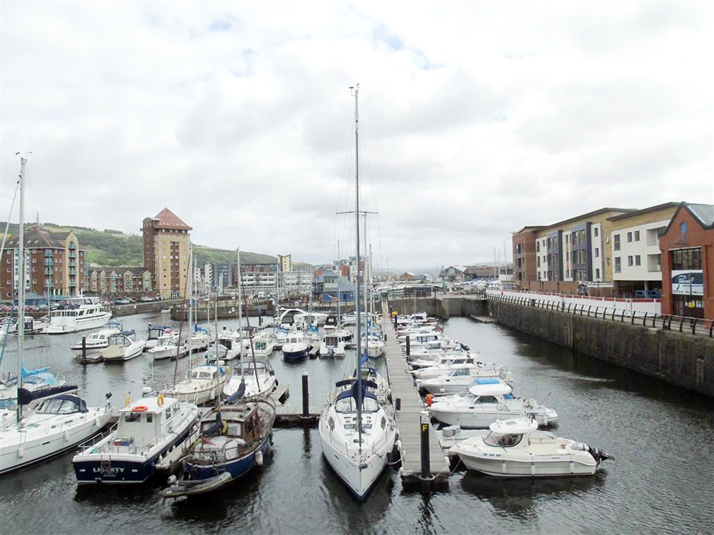 view from property for sale in swansea maritime quarter
