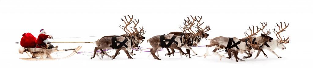 Santa Claus rides in a reindeer sleigh.