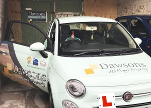ELFIE TAKES A DAWSONS CAR FOR A RIDE AROUND SWANSEA