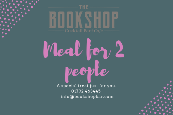 Meal for 2 people at The Bookshop in Uplands Swansea