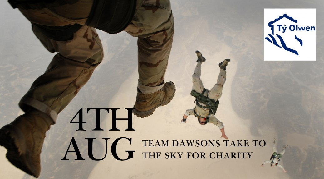 Team Dawsons take on a sky dive for Ty Olwen Trust