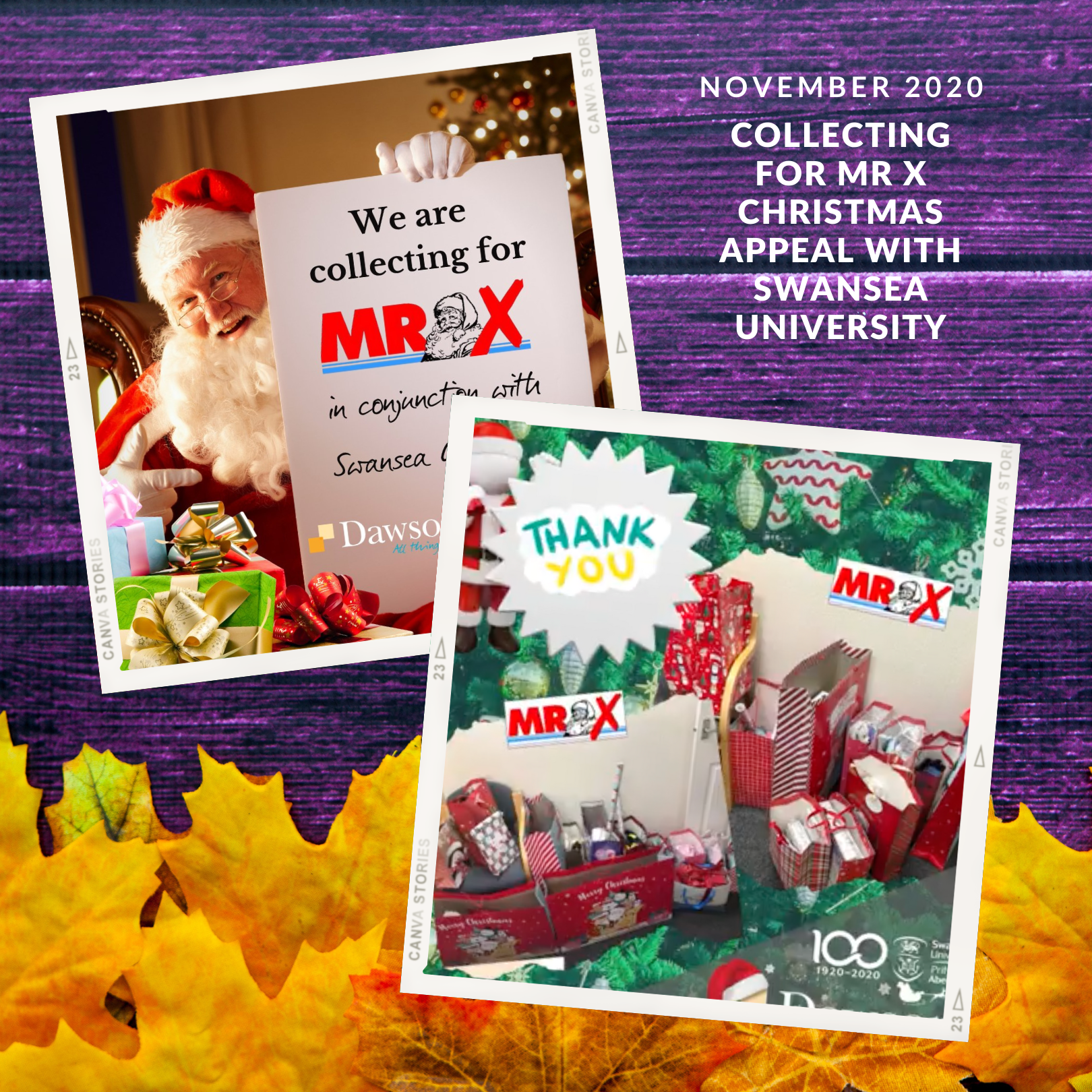 Dawsons collecting for the Mr X Christmas Appeal with Swansea University