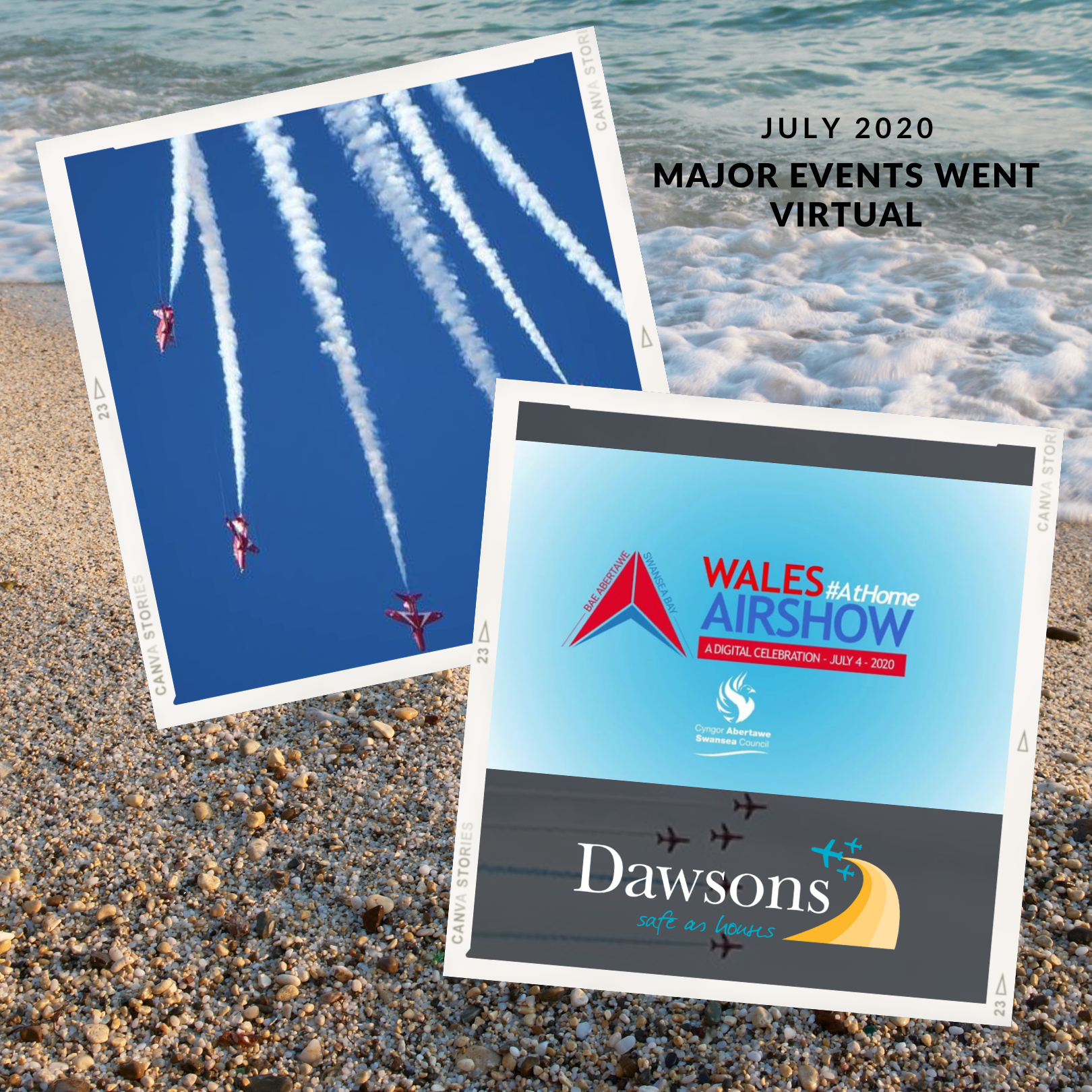 Dawsons sponsored the virtual wales airshow and the red arrows display.